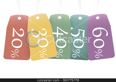 colored discount labels stock photo, EPS10 file. Several colored labels with various discounts from 20% to 60% by Lutya