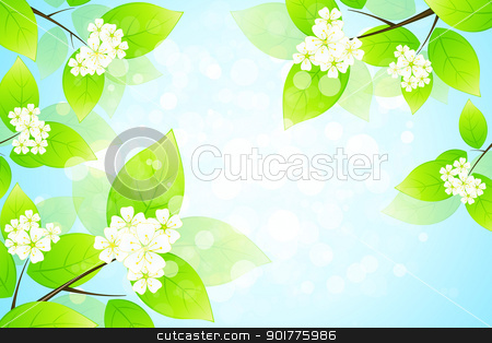 Green Leaves stock vector clipart, Green Leaves and flowers by Vadym Nechyporenko