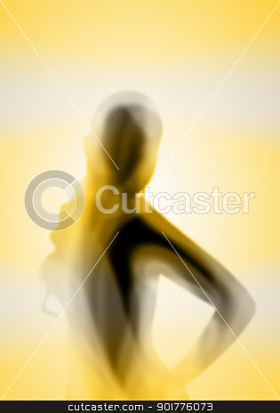 Female silhouette against colour background stock photo, Image with a blurred female silhouette against colour background by Sergey Nivens
