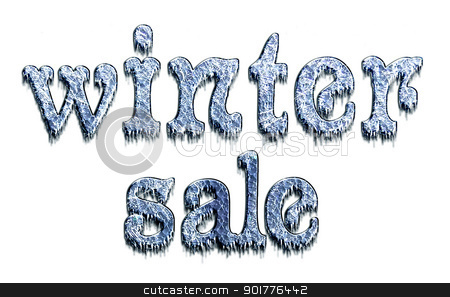 Winter sale stock photo, Winter Sale - sign letters of ice with icicles, isolated on a white background. by Liubov Nazarova