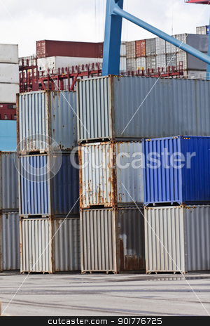 Commercial Dock stock photo, Large group of Cargo Containers at the commercial dock by Anne-Louise Quarfoth