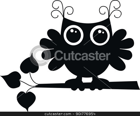 a black owl stock vector clipart, a black owl by Popocorn