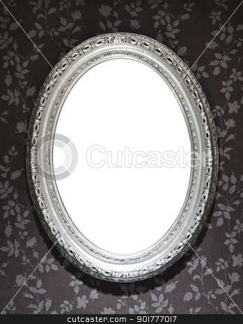 Mirror Frame stock photo, Blank mirror frame on a wall covered with floral wallpaper, clipping paths included by HypnoCreative