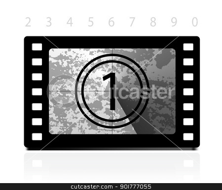 Grunge film countdown stock photo, Grunge film countdown. Vector illustration on white background. Easy to remove grunge effect. by sermax55