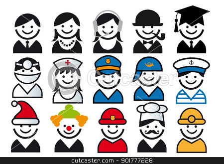 profession vector people icon set stock vector clipart, profession avatars, vector people icon set by Beata Kraus