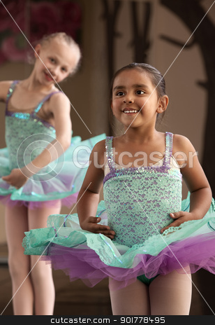 Cute Ballerinas Laughing stock photo, Two little ballet students practicing while laughing by Scott Griessel
