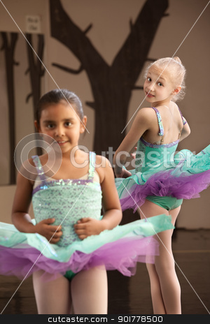 Childrens Ballet Practice stock photo, Pair of young female ballet students looking cute by Scott Griessel