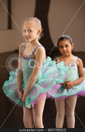 Shy Ballet Students stock photo, Shy little girls in ballet dresses at a dance studio by Scott Griessel