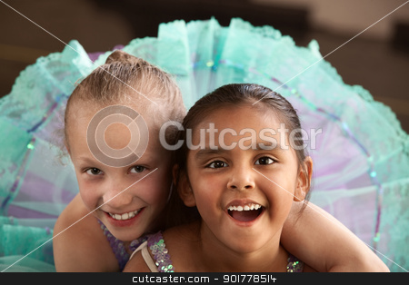 Adorable Ballerina Friends stock photo, Two little ballet students hugging each other by Scott Griessel