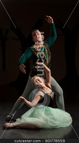 Two People in Ballet Performance stock photo, Young ballet dancers performing over dark background by Scott Griessel