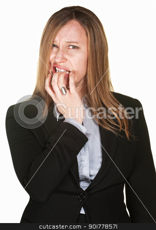 Nervous Professional Woman stock photo, Nervous Hispanic woman isolated over white background by Scott Griessel