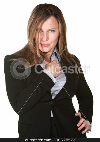 Sensual Businesswoman stock photo, Sultry businesswoman with grin over white background by Scott Griessel