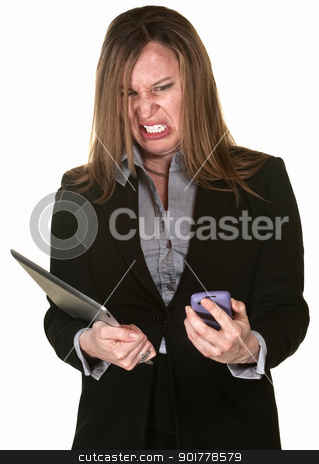 Business Lady with Technical Problems stock photo, Angry businesswoman with tablet and phone over white background by Scott Griessel