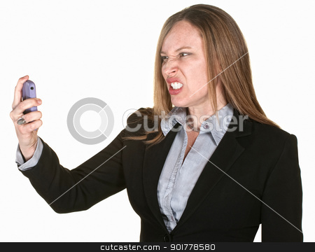 Mad Woman with Phone stock photo, Woman with clenched teeth and telephone over white background by Scott Griessel