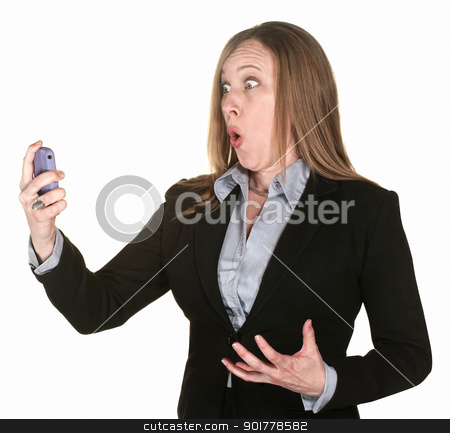 Shocked Professional Lady stock photo, Shocked professional lady with telephone over white background by Scott Griessel