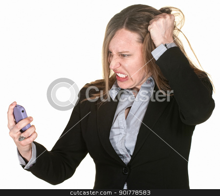 Woman Pulling Her Hair stock photo, Mad businesswoman with phone pulls on her hair by Scott Griessel