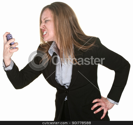 Furious Woman Holding Telephone stock photo, Angry white collar worker holding mobile phone over white by Scott Griessel
