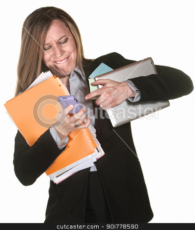 Woman Multi-Tasking stock photo, Woman with tablet and folders having problems multi-tasking by Scott Griessel