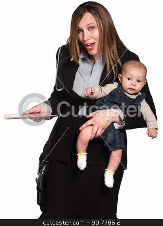 Businesswoman and Mother stock photo, Working Hispanic mother with baby over white background by Scott Griessel