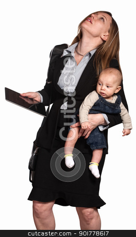 Stressed Out Working Mom stock photo, Stressed out professional woman with baby over white background by Scott Griessel