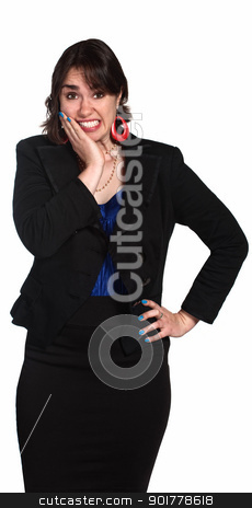 Embarrassed Woman stock photo, Embarrassed female executive with hand on cheek by Scott Griessel