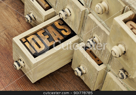 ideas or brainstorming concept stock photo, ideas word in vintage letterpress wood type in a drawer of antique apothecary cabinet - brainstorming concept by Marek Uliasz