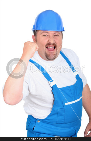 Happy male builder stock photo, Happy male builder by photography33