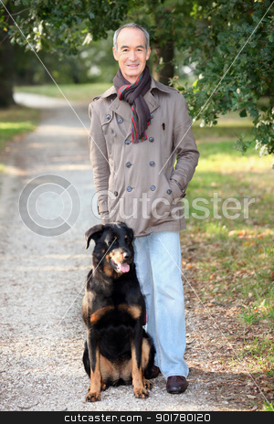 senior walking his dog stock photo, senior walking his dog by photography33
