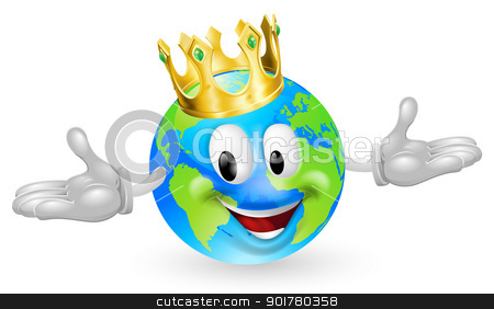 King of the World Mascot stock vector clipart, Illustration of a cute happy king of the world mascot man wearing a gold crown by Christos Georghiou