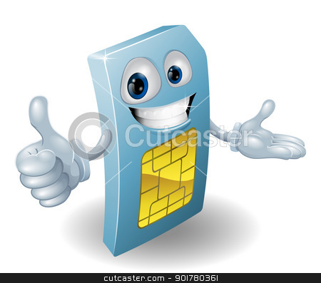 Cartoon mobile phone sim card man stock vector clipart, A cartoon mobile phone sim card man smiling by Christos Georghiou