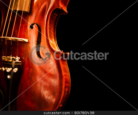 Close Up Violin Copy Space stock photo, A copy space with close up shot of a violin by HypnoCreative