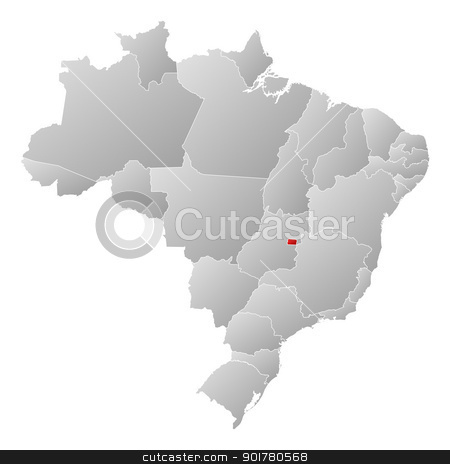 Map of Brazil, Brazilian Federal District highlighted stock vector clipart, Political map of Brazil with the several states where Brazilian Federal District is highlighted. by Schwabenblitz