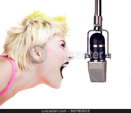 Punk Girl Shouting at the Microphone stock photo, Isolated image of a blonde punk girl shouting at a microphone by HypnoCreative