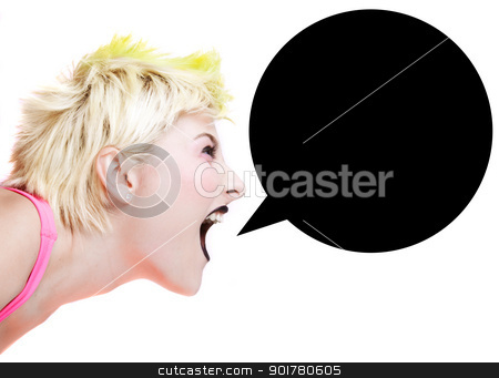 Punk Girl Shouting stock photo, Isolated image of a blonde punk girl with speech bubble by HypnoCreative