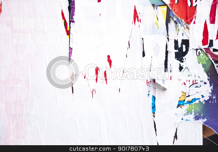 Torn Posters on Billboard stock photo, Texture of torn advertisement posters on billboard by HypnoCreative