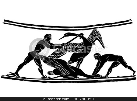 Bird hunters - vector stock vector clipart, Bird hunters - scene from hunting - painting on the amphora from ancient Greece - ancient art by Siloto