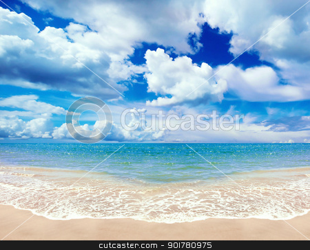 Tropical Coast stock photo, Wide angle image of a sandy tropical coast by HypnoCreative