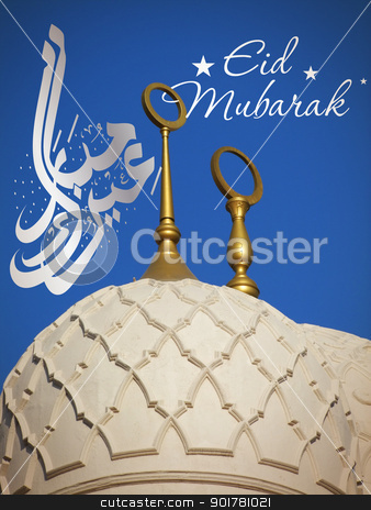 Sheikh Zayed mosque Eid Celebration stock photo, Eid celebration card on Sheikh Zayed mosque in Abu-Dhabi, UAE by HypnoCreative
