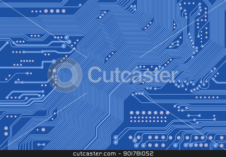 printed circuit - motherboard - vector stock vector clipart, Image of the printed circuit - motherboard - technology abstract - vector by Siloto