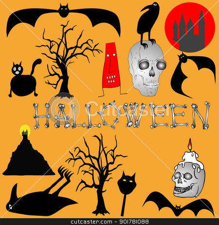Halloween backgroud - various graphic elements stock vector clipart, Halloween backgroud - various graphic elements by Siloto