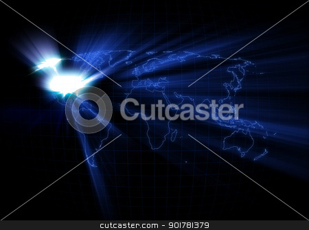 World Map - USA stock photo, World map with United States of America glowing. by Alex Stokes