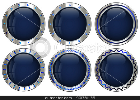 Empty creative button set stock vector clipart, Vector empty creative button set in metallic silver for multipurpose design task by Vladimir Repka