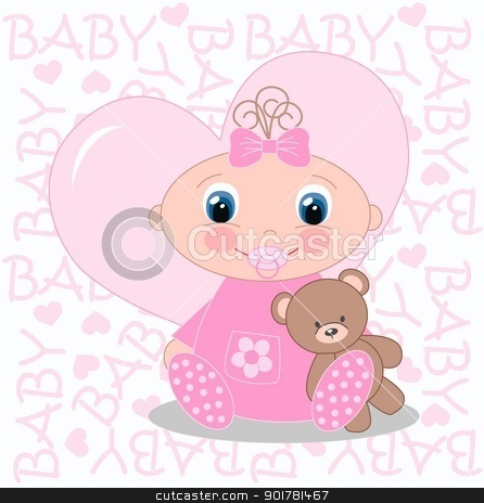 baby girl announcement stock vector clipart, baby girl announcement by Popocorn