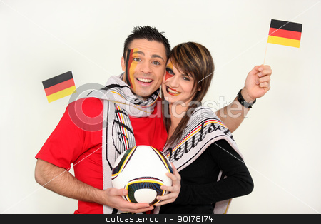 Couple supporting the German football team stock photo, Couple supporting the German football team by photography33