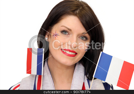Woman waving French flags stock photo, Woman waving French flags by photography33