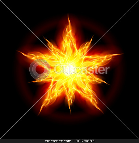 Fire star stock photo, Abstract Fire star. The form of the first. Illustration on black background by dvarg