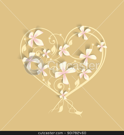 floral heart stock vector clipart, the background floral heart with pink flowers by Miroslava Hlavacova