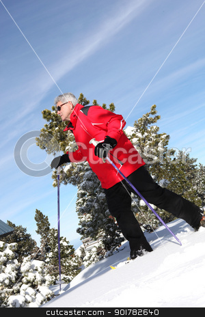 Man cross-country skiing stock photo, Man cross-country skiing by photography33