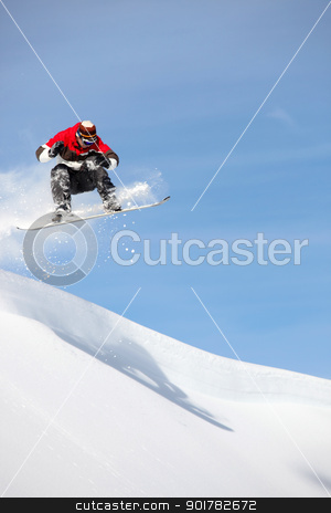Man performing jump on snowboard stock photo, Man performing jump on snowboard by photography33