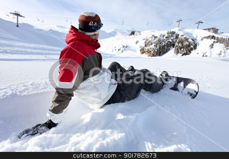 Snowboarder sat down stock photo, Snowboarder sat down by photography33